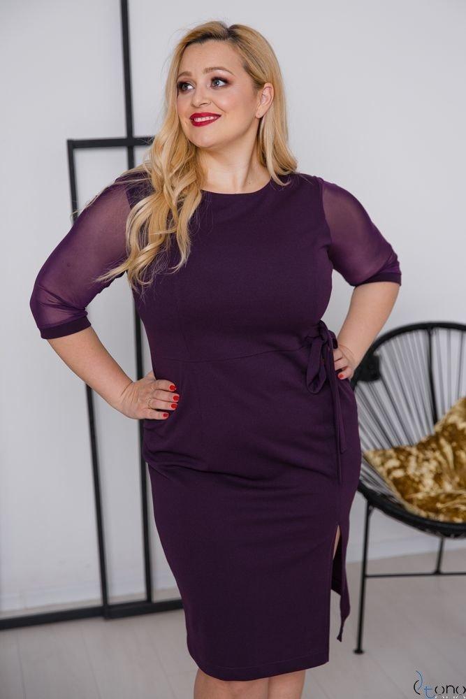 Fioletowa Sukienka CRAVATTA Plus Size