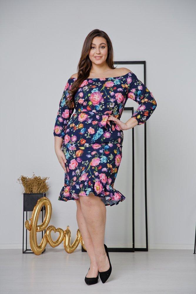 Granatowa Sukienka ESPANA Plus Size Wzór 1