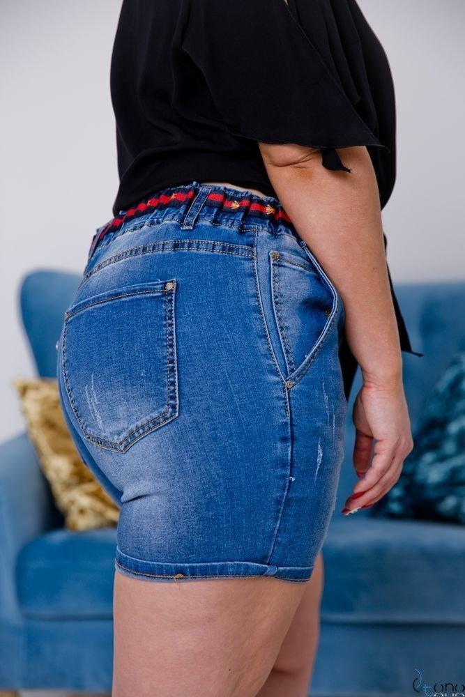 Granatowe Spodnie TOXIC Shorty Jeansowe