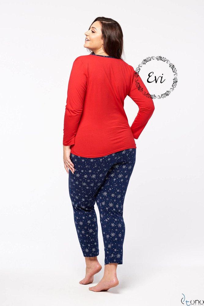 Granatowo-Czerwona Damska Piżama STAR Długi Rękaw Plus Size