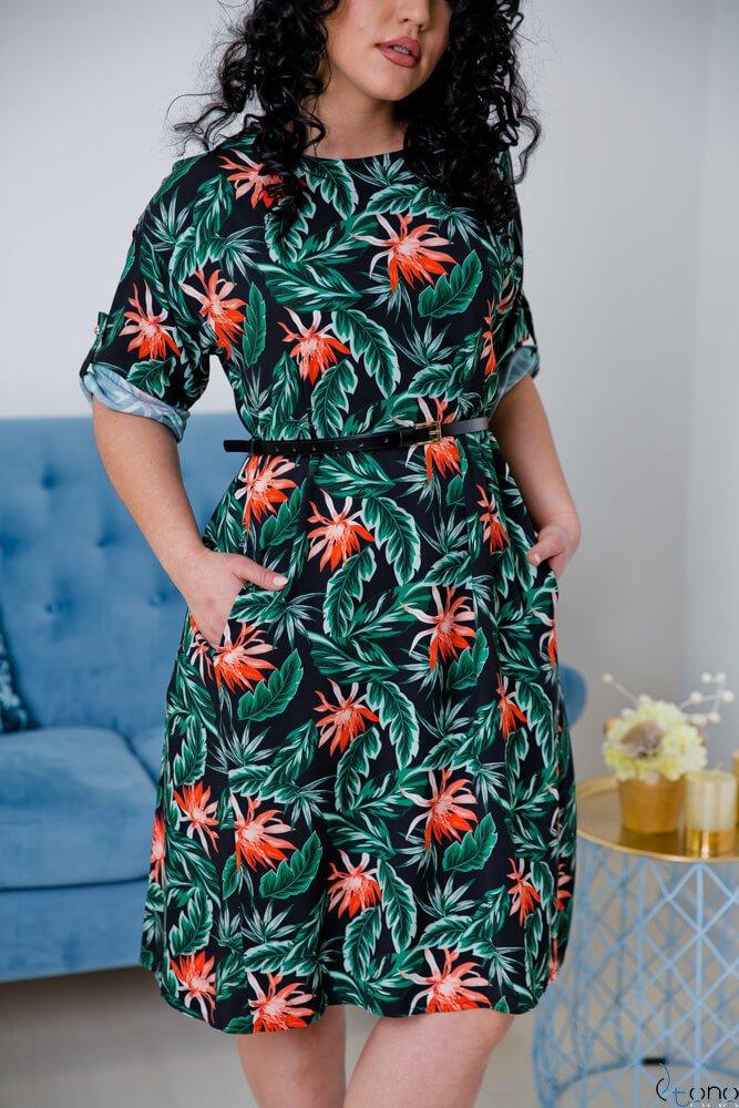 Kolorowa Sukienka AVION Plus Size Wzór 1