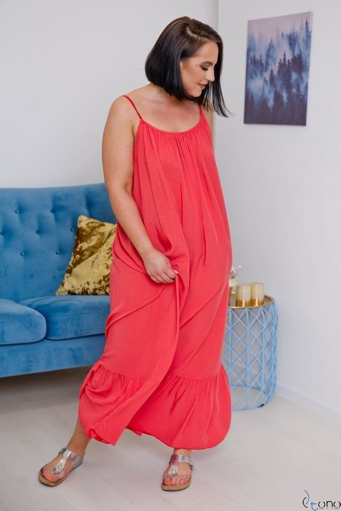 Koralowa Sukienka LAMIRA Plus Size Maxi