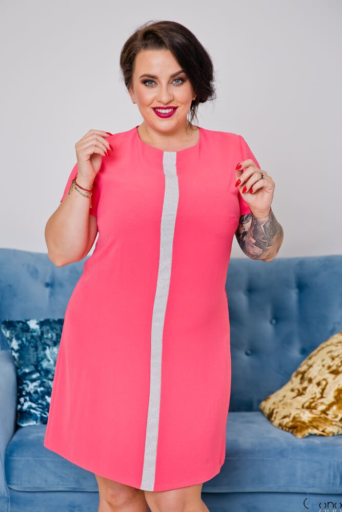 Koralowa Sukienka SAVIO Plus Size