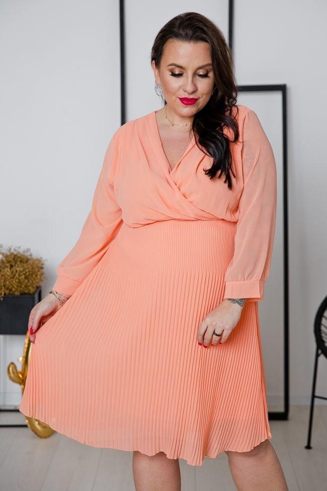 Łososiowa Sukienka ESTIVA Plus Size