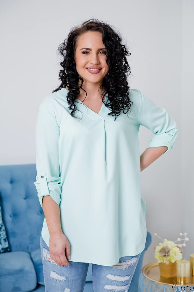 Miętowa Bluzka JUSTIN Plus Size