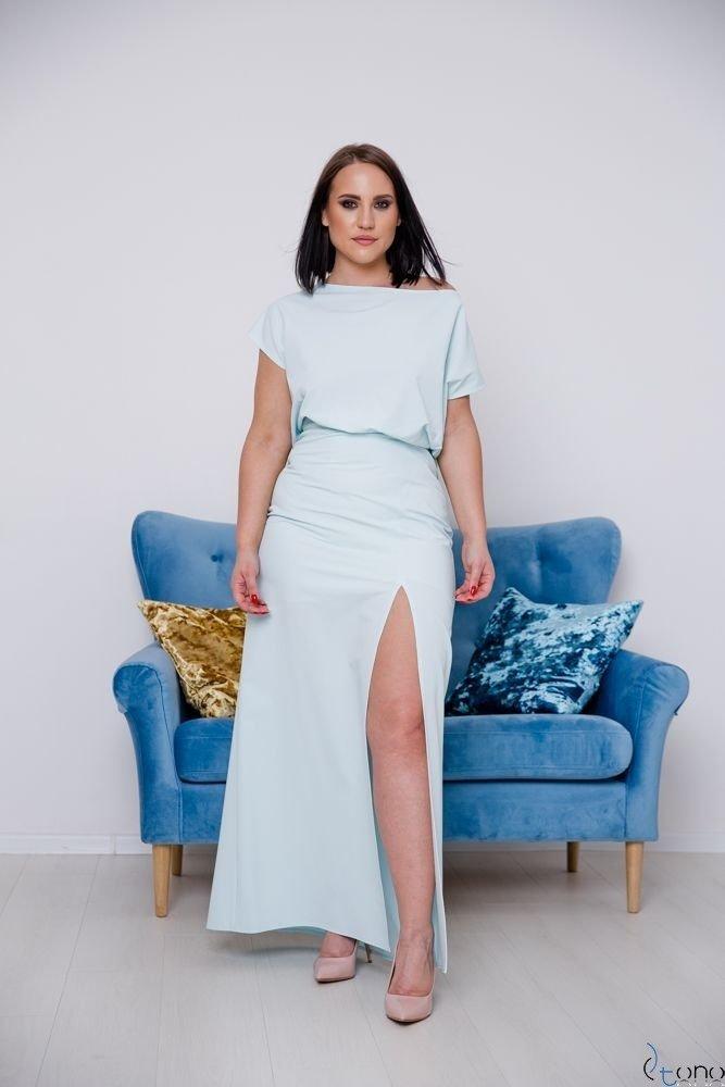 Miętowa Sukienka PRIMMA Wizytowa Plus Size