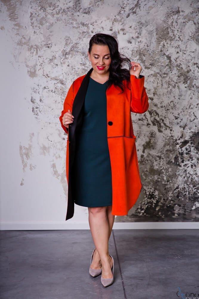 Pomarańczowy Płaszcz PREMIO Plus Size Zamszowy