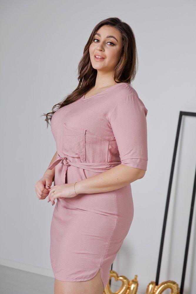 Różowa Sukienka LUMOSA Plus Size