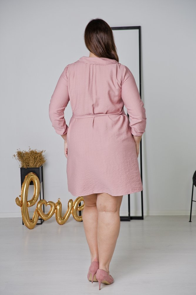 Różowa Sukienka MERTA Plus Size