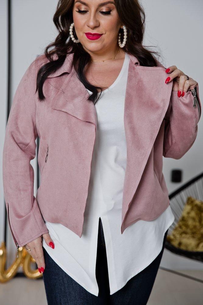 Różowy Żakiet MODALIA Plus Size