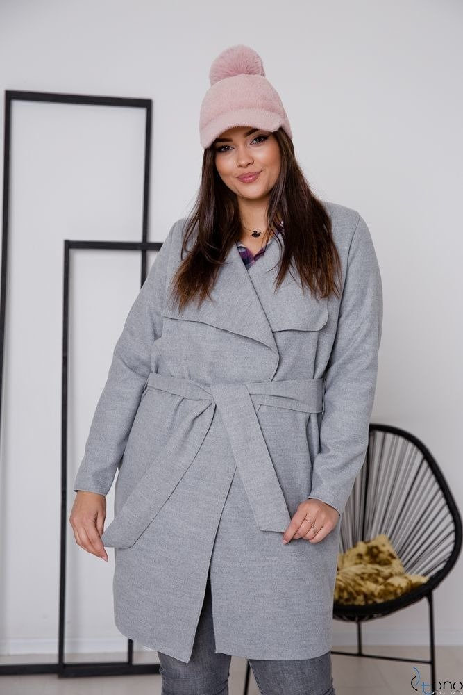 Szary Płaszcz TARDOR Plus Size