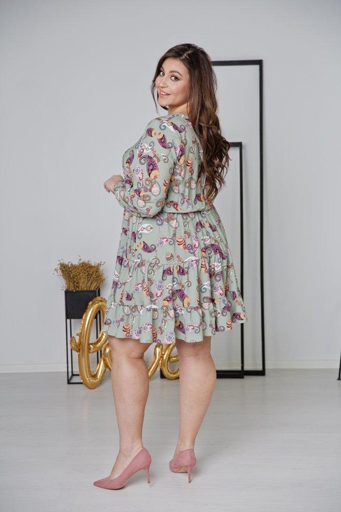 Zielona Sukienka MIRIAN Plus Size Wzór 3