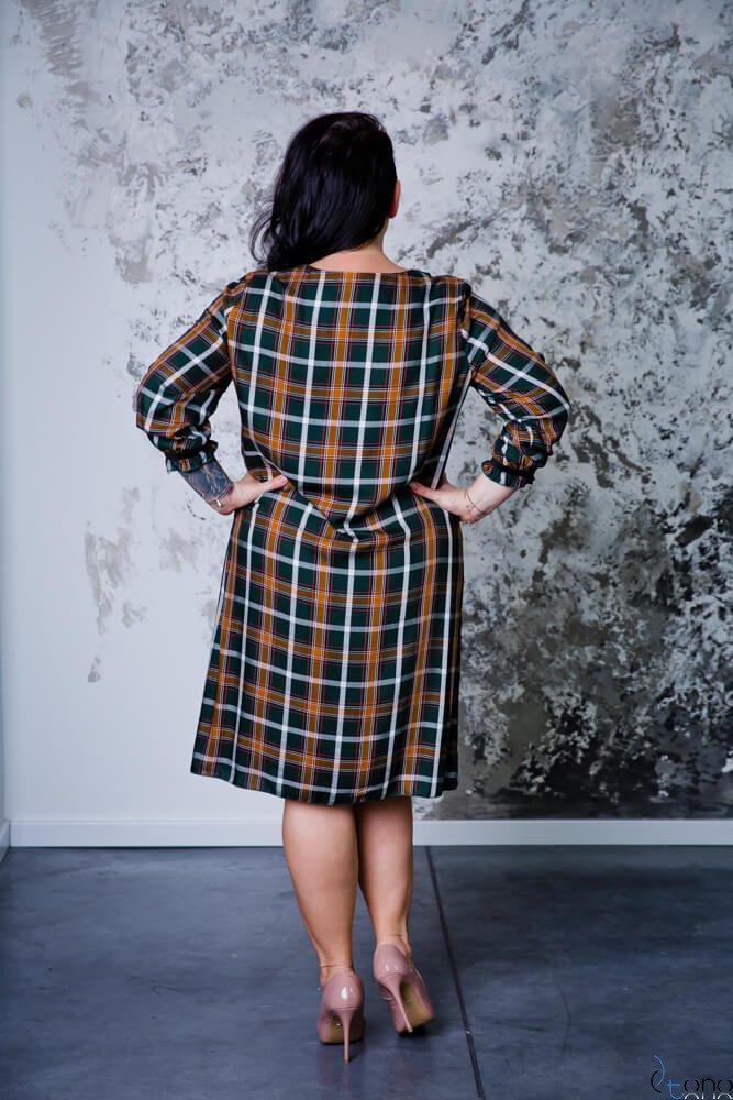 Zielono-Brązowa  Sukienka RITA Plus Size Kratka