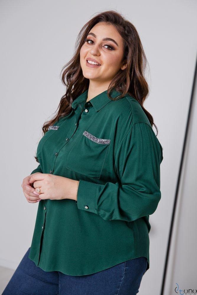 Zielono-Srebrna Koszula BILARES Plus Size