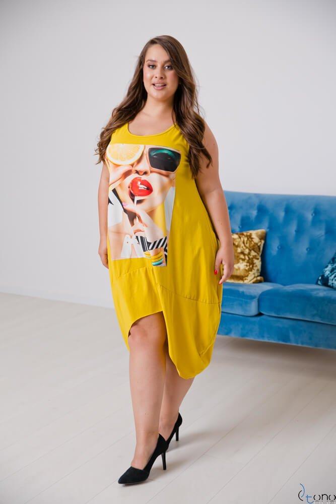 Żółta Sukienka DORMIRA Plus Size