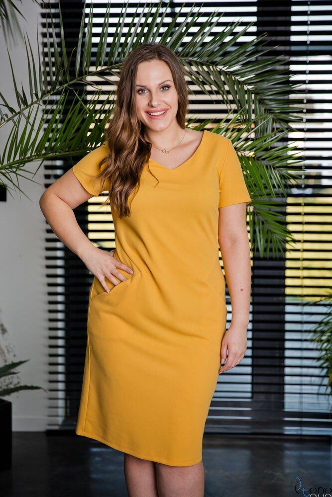 Żółta Sukienka EJMY Plus Size