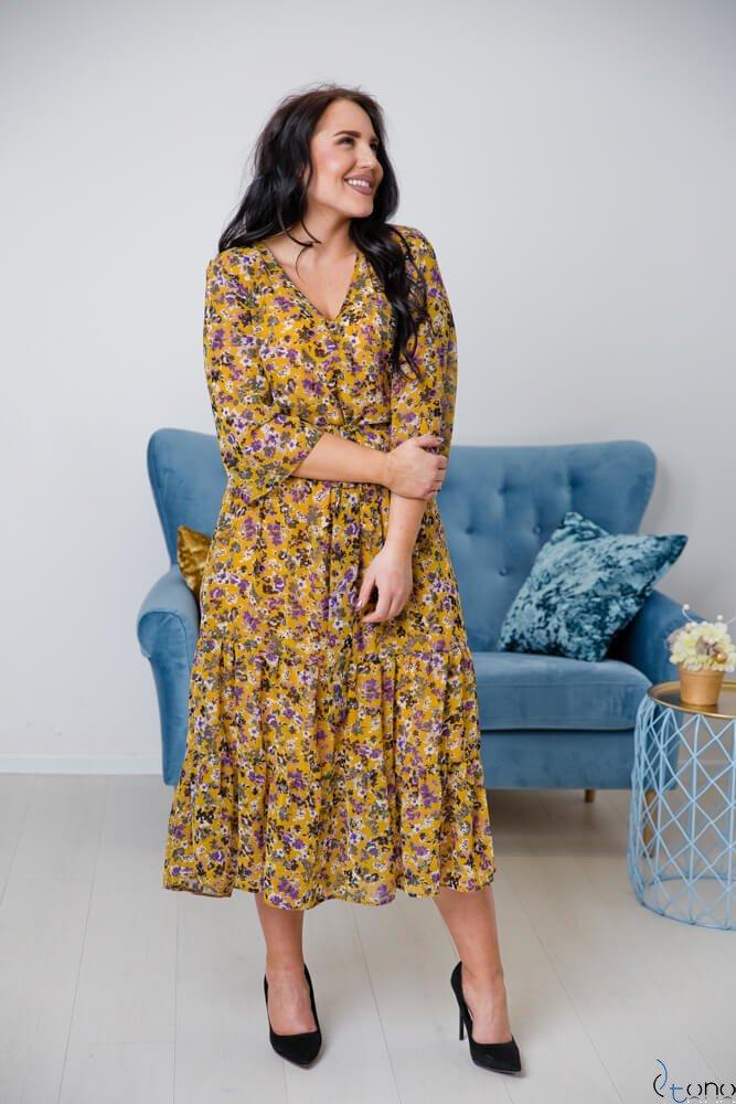 Żółta Sukienka ELICCIA Plus Size