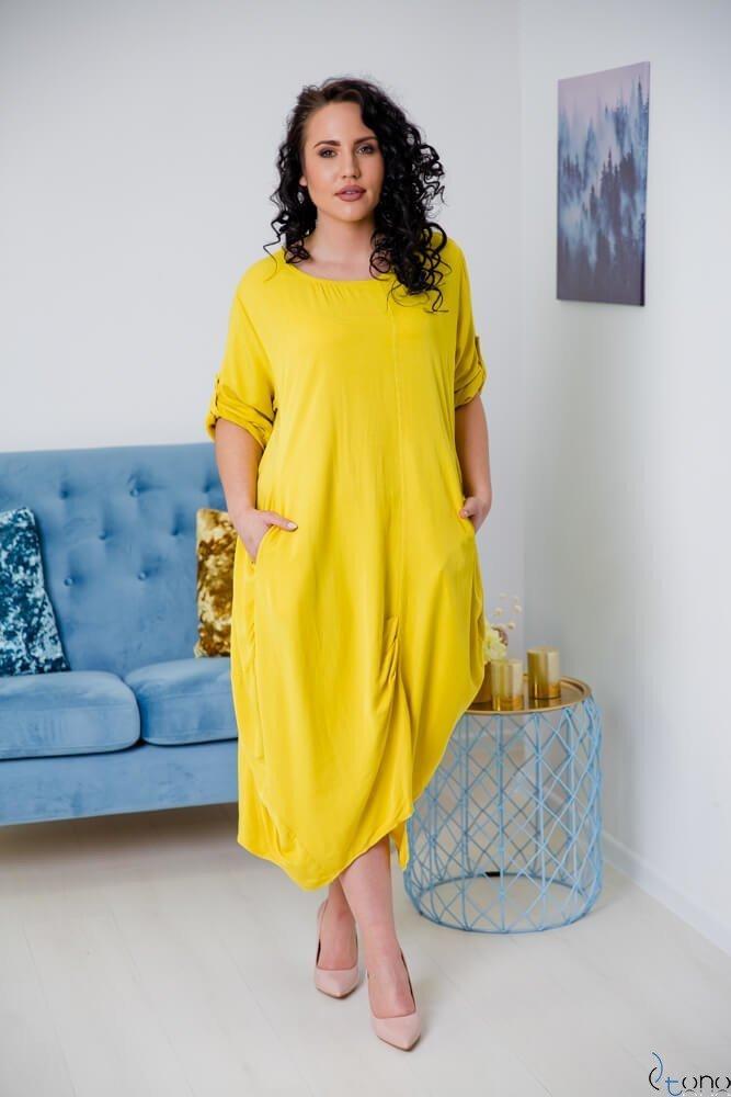 Żółta Sukienka SAJANA Plus Size