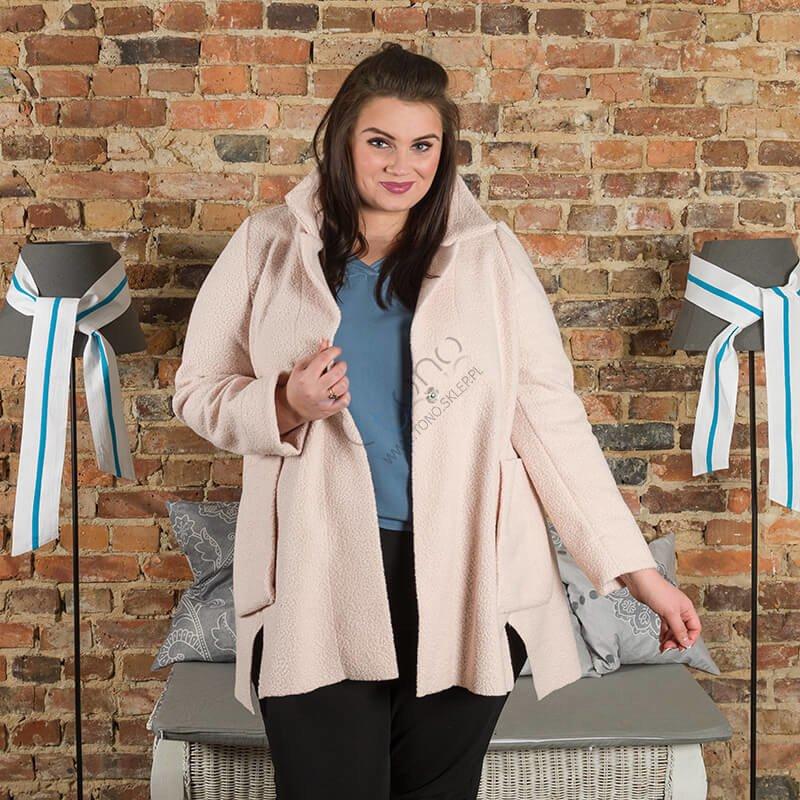 Różowy Płaszcz damski FELPA Trapezowy Plus Size