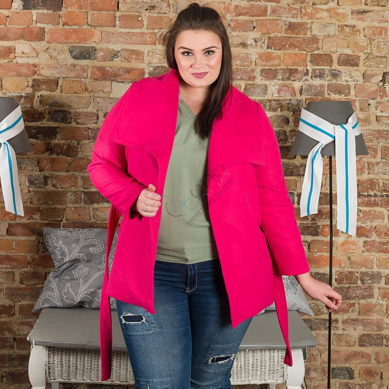Amarantowy Płaszcz damski PRIMA Flausz Size Plus