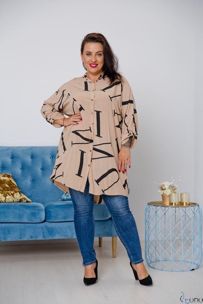 Beżowa Koszula PAROLLA Plus Size