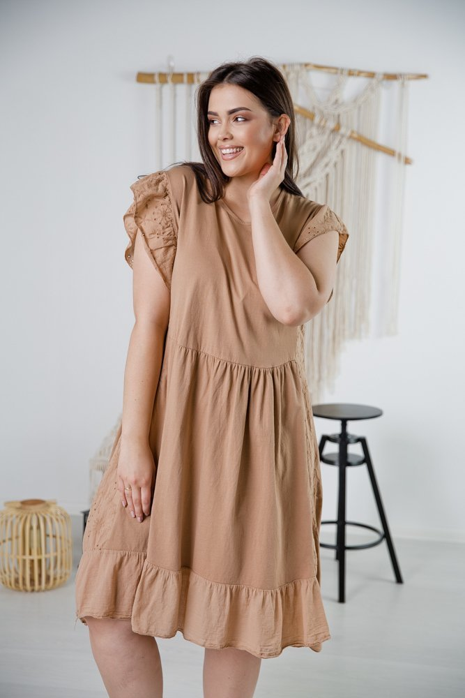 Beżowa Sukienka NELIA Plus Size