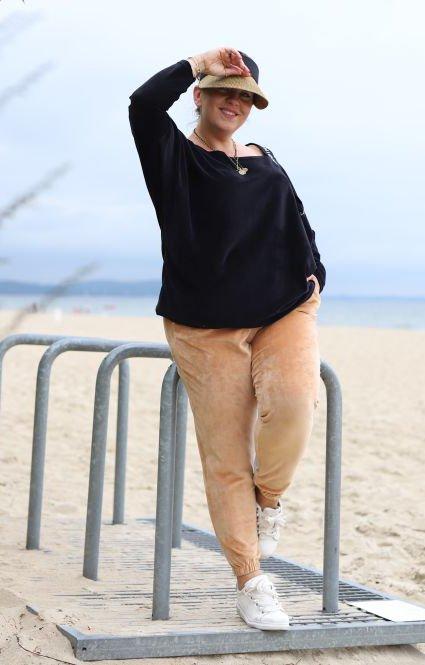 Beżowe Spodnie FERNA Plus Size