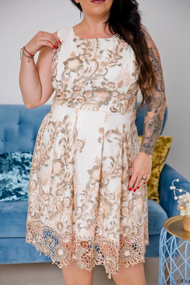 Beżowo-Różowa Sukienka GENIO Plus Size