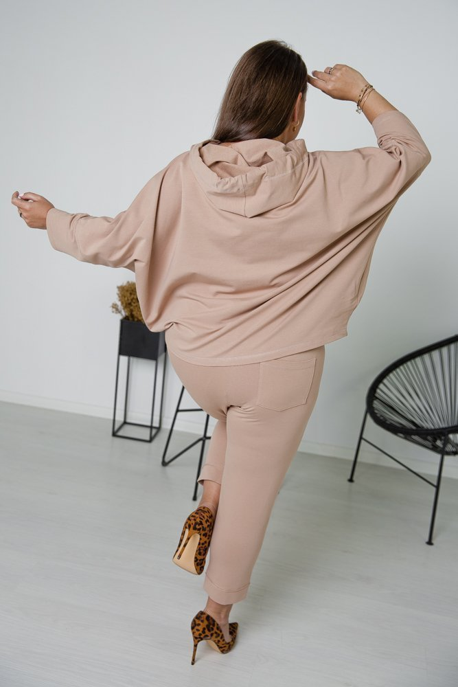 Beżowy Komplet Dresowy KARDI Plus Size