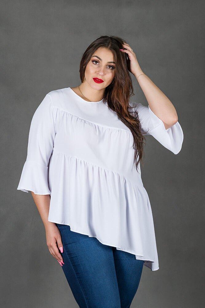 Biała Bluzka CANDE Asymetryczna Plus Size