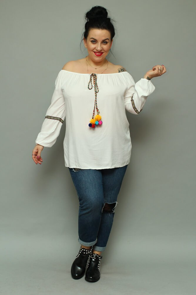 Biała Bluzka FOGGIA Plus Size pompony