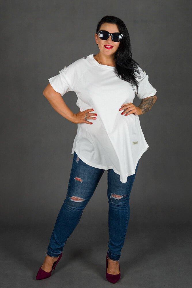 Biała Bluzka GIANA Trapezowa Plus Size