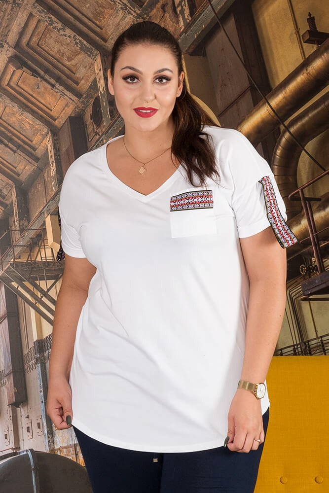 Biała Bluzka OMERTA Pus Size T-shirt