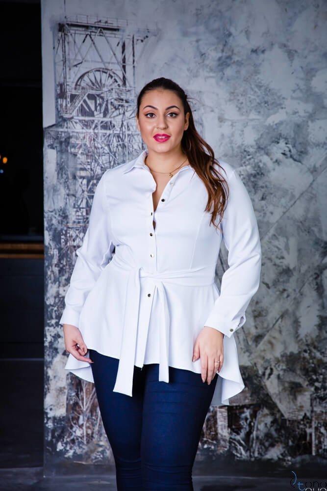 Biała Koszula damska LANICA Plus Size