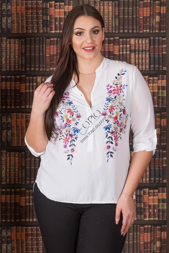 Biała Koszula damska MALTA Kwiaty Plus Size