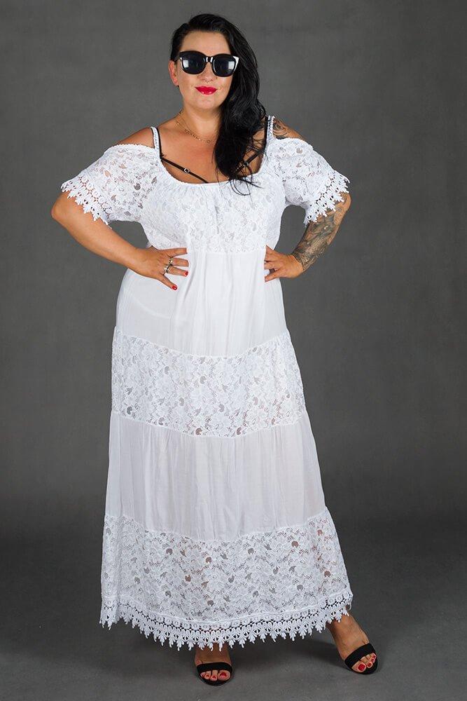 Biała Sukienka NUVOLA Maxi Plus Size