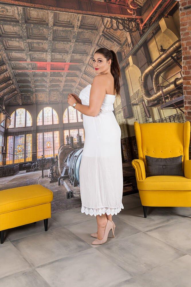 Biała Sukienka REVIA Hiszpanka Plus Size
