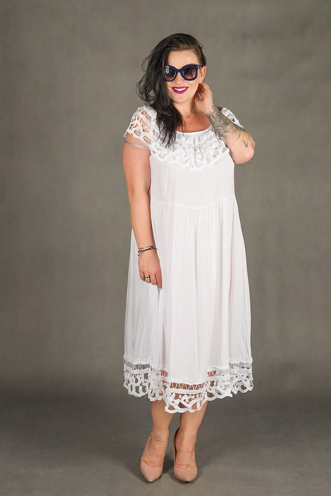 Biała Sukienka VACANZA Hiszpanka Plus Size
