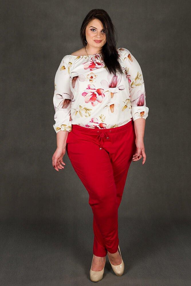 Biała bluzka damska JARDIN Kwiaty Plus Size