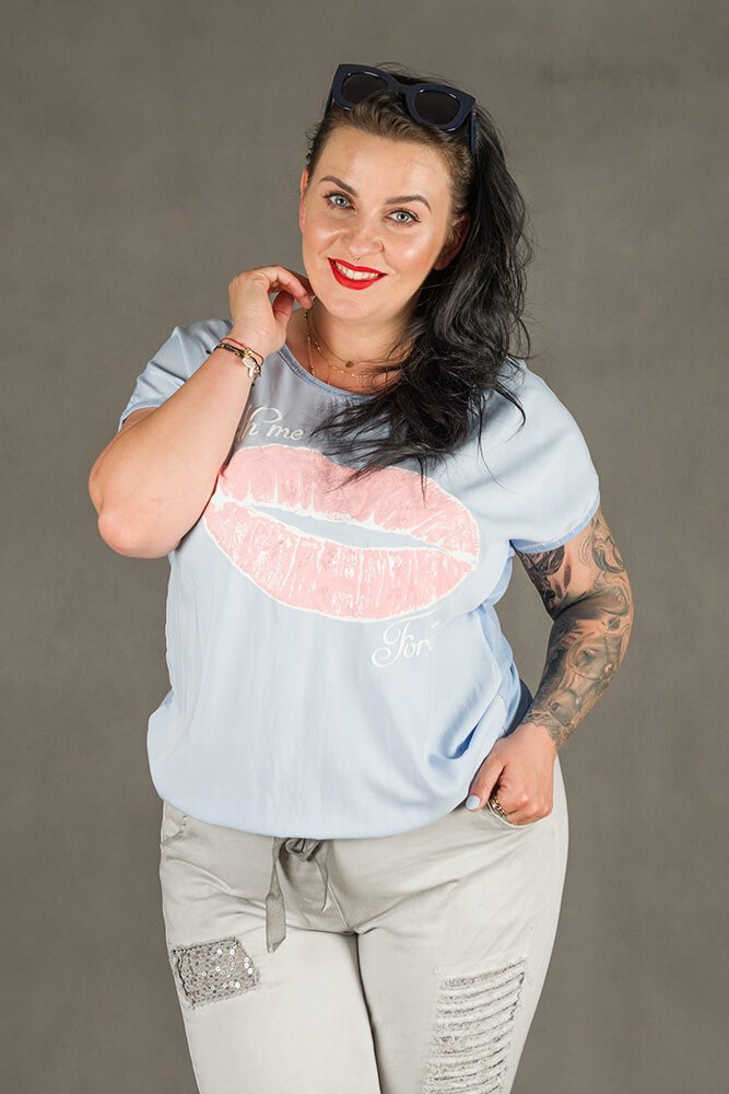 Błękitna Bluzka damska BOCCA T-shirt Plus Size