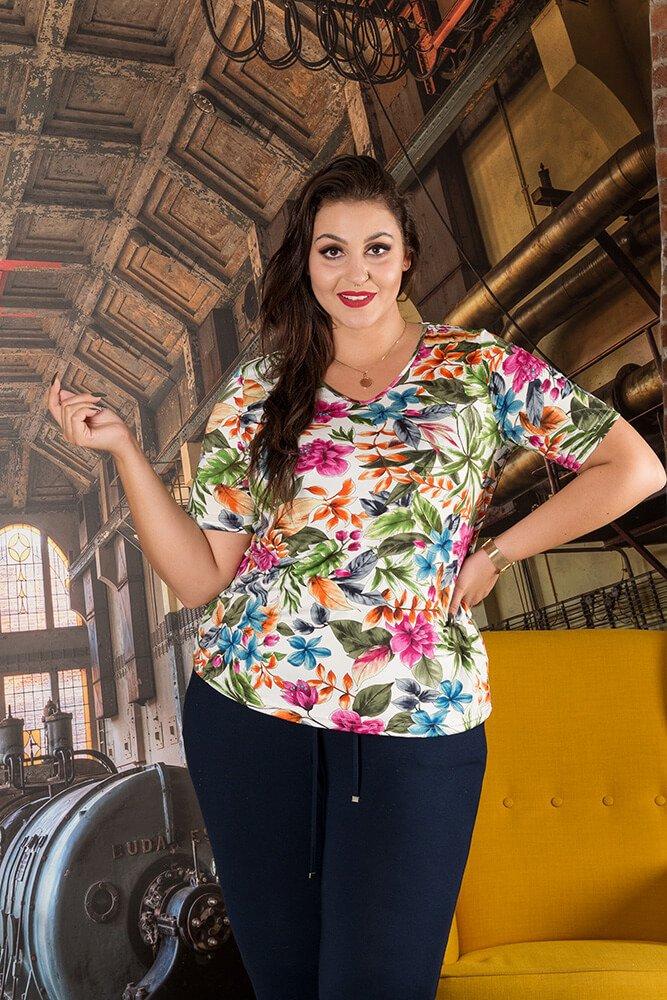 Bluzka ALBINA Kwiaty Plus Size wzór 1