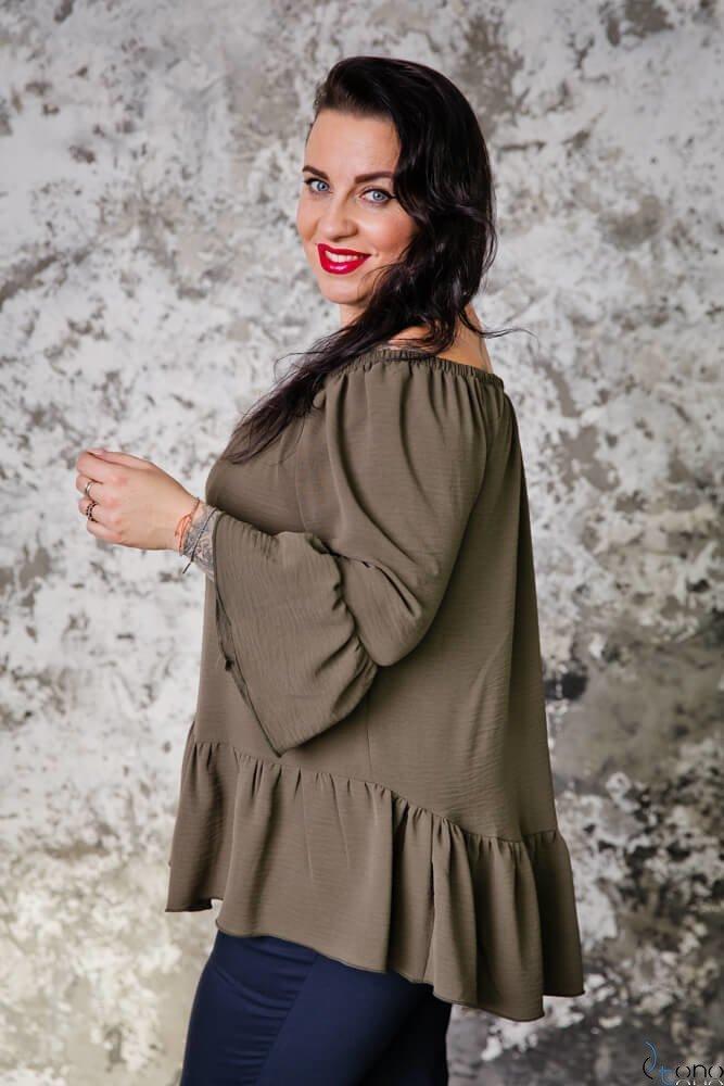 Bluzka CARLITA Plus Size KHAKI