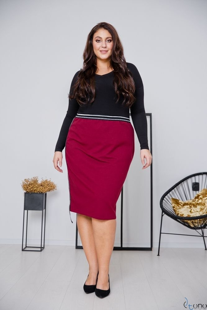 Bordowa Spódnica LAURA Plus Size