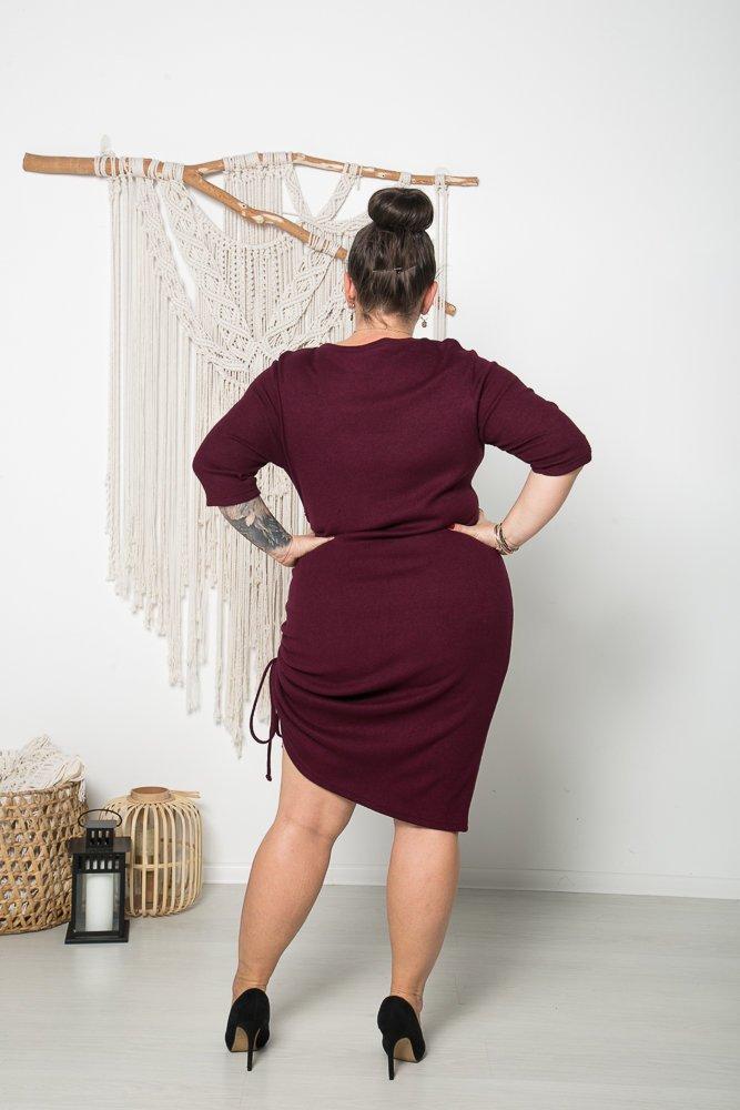 Bordowa Sukienka AONA Plus Size