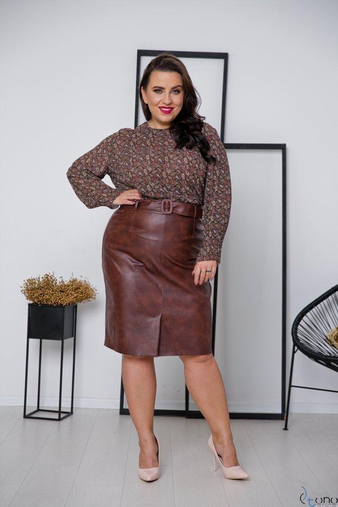 Brązowa Spódnica HIDEN Plus Size