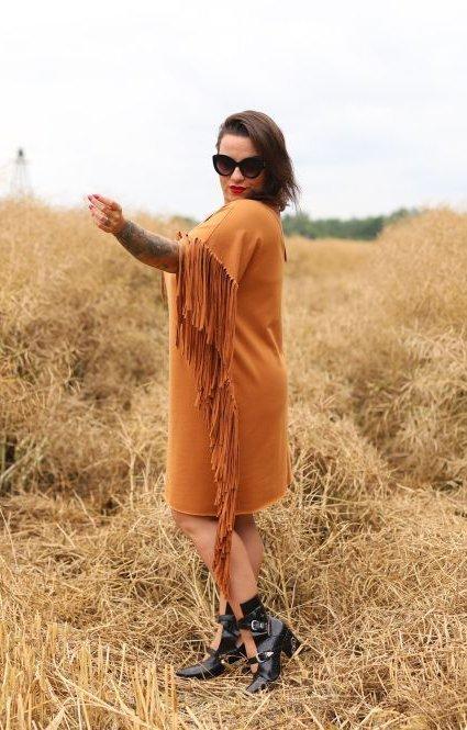Brązowa Sukienka PERU Plus Size