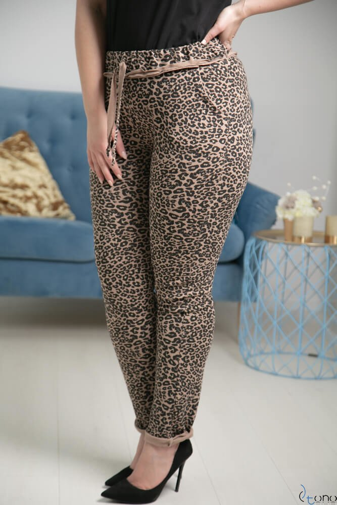 Brązowo-Czarne Spodnie JERSEY Lampas Plus Size
