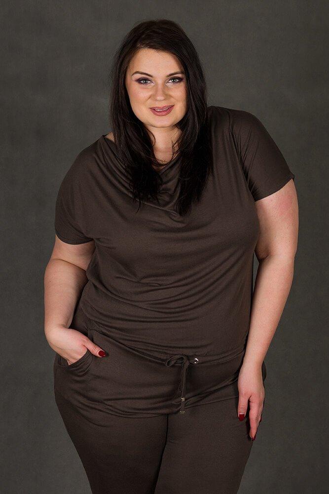 Brązowy Kombinezon damski MILO Size Plus Wygodny