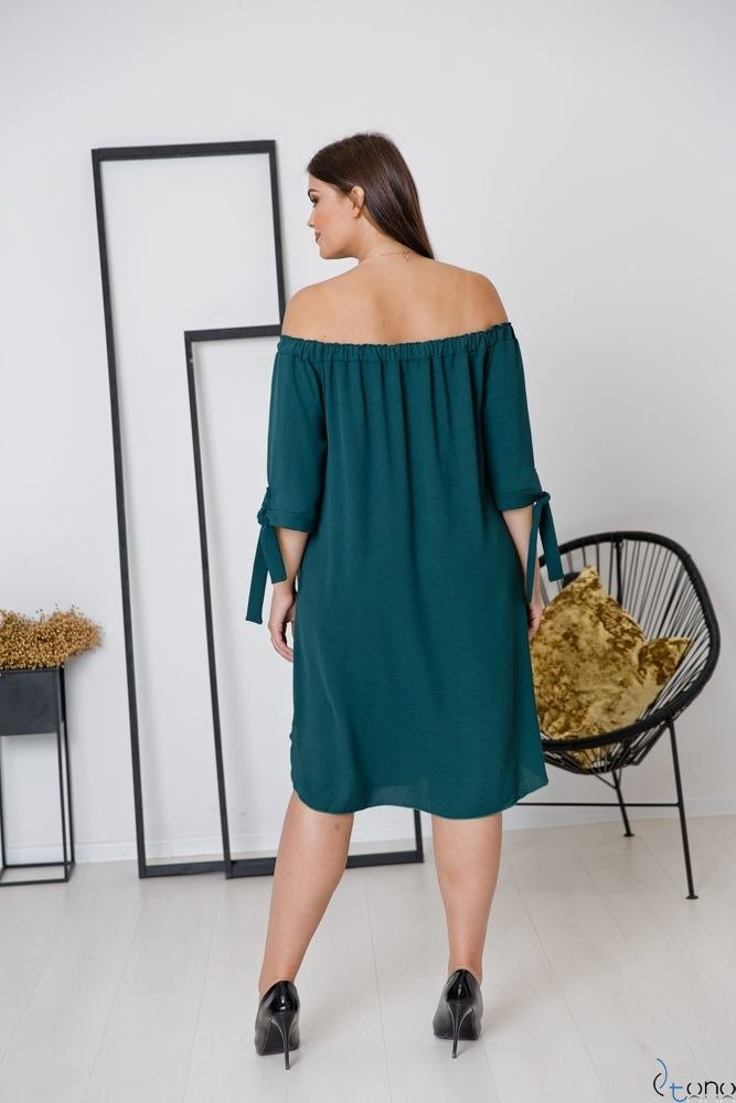 Butelkowo zielona Sukienka VALENCIA Hiszpanka Plus Size