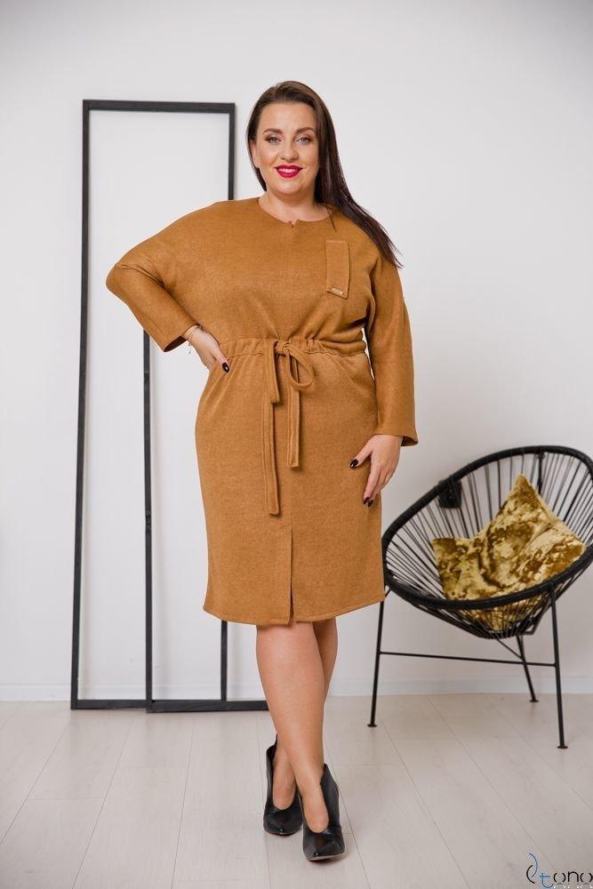 Camelowa Sukienka BOFETTA Plus Size